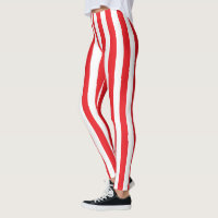 Vertical Red and White Stripes Leggings
