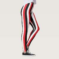 Vertical Red, Black and White Stripes Leggings