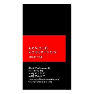 Vertical Red Black Professional Business Card