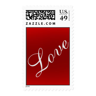 Vertical Red Calligraphy Love Wedding Stamp