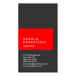Vertical Red Grey Professional Business Card