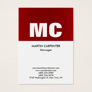 Vertical red white monogram professional modern business card