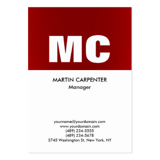 Vertical red white monogram professional modern large business card