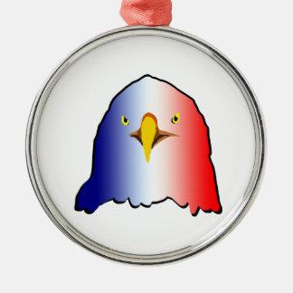 vertical roja blanca azul del águila adorno redondo plateado