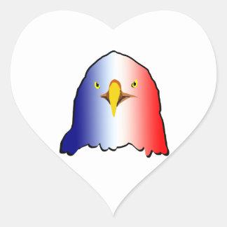 vertical roja blanca azul del águila pegatina en forma de corazón