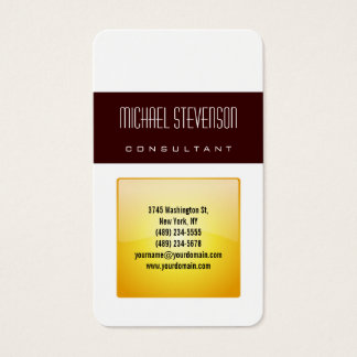 Vertical Rounded Corner Yellow White Business Card