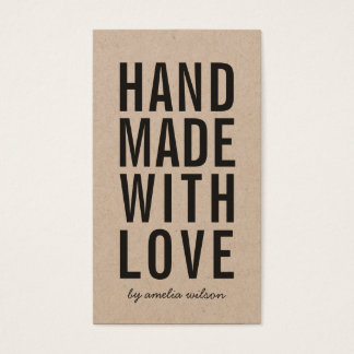 Vertical Rustic Handmade With Love Social Media Business Card
