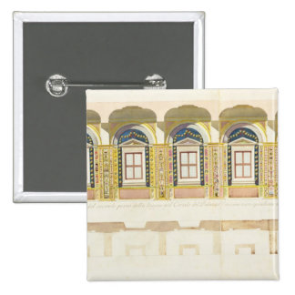 Vertical section of the second floor of the Raphae Pinback Button