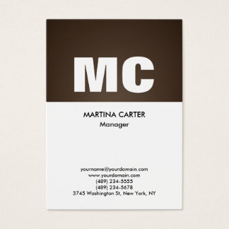 Vertical sepia white monogram professional modern business card