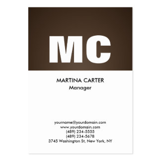 Vertical sepia white monogram professional modern large business card