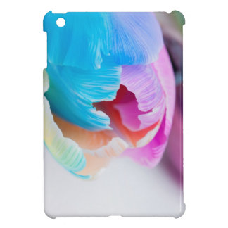 Vertical shoot of unusual multi colored tulip case for the iPad mini