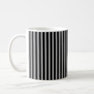 Vertical Silver and Black Stripes Coffee Mug