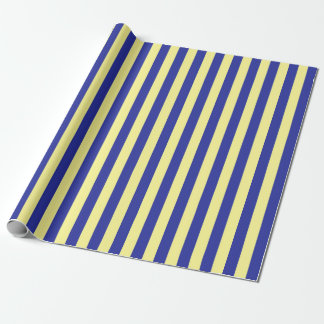 Vertical Soft Yellow and Blue Stripes Wrapping Paper