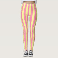 Vertical Soft Yellow and Pink Stripes Leggings