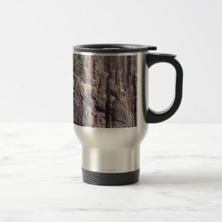 Vertical stratigraphy, rock layers in cliffs 15 oz stainless steel travel mug