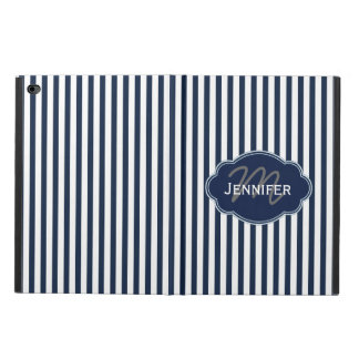 Vertical Stripe Navy/White Personalized iPad Case