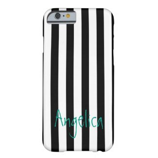 Vertical Striped Custom Black & White with Teal