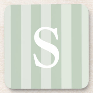 Vertical Striped Green Chic Monogrammed Coaster