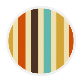 Vertical Stripes Blue Yellow Red Edible Frosting Rounds
