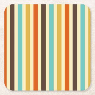 Vertical Stripes Blue Yellow Red Square Paper Coaster