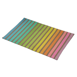 Vertical Stripes in Rainbow 1 Brown Placemat Cloth Placemat