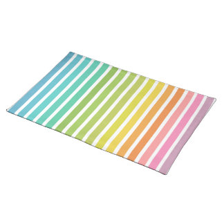 Vertical Stripes in Rainbow 1 White Placemat Cloth Placemat