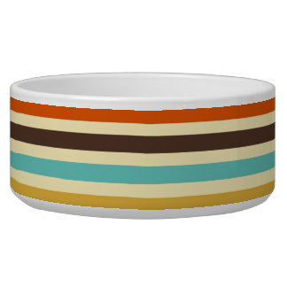 Vertical Stripes Retro Colors Blue Yellow Red Bowl