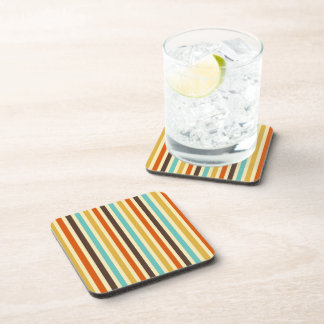 Vertical Stripes Retro Colors Blue Yellow Red Drink Coaster