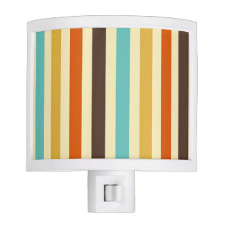 Vertical Stripes Retro Colors Blue Yellow Red Night Light