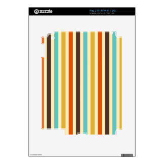 Vertical Stripes Retro Colours Blue Yellow Red Decals For The iPad 2