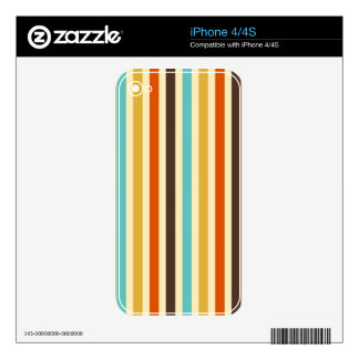Vertical Stripes Retro Colours Blue Yellow Red iPhone 4S Decals