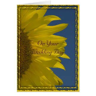 Vertical Sunflower Wedding Day Card