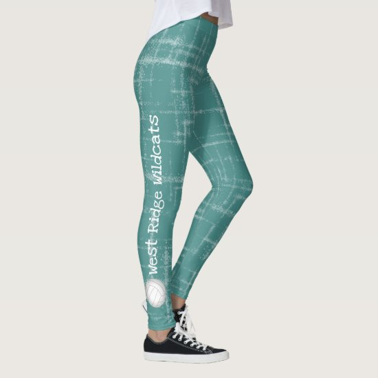 vertical text team name women's teal leggings