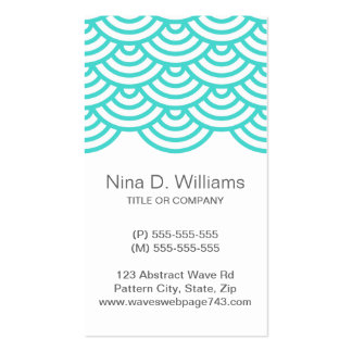 Vertical trendy aqua teal turquoise wave pattern business cards