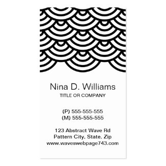 Vertical trendy black Japanese wave pattern Business Card Template