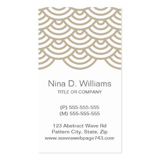 Vertical trendy browni gray Japanese wave pattern Business Card