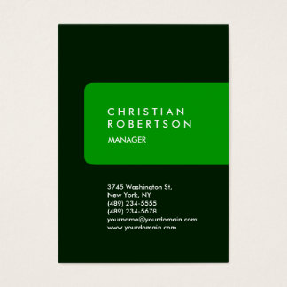 Vertical trendy chubby green business card