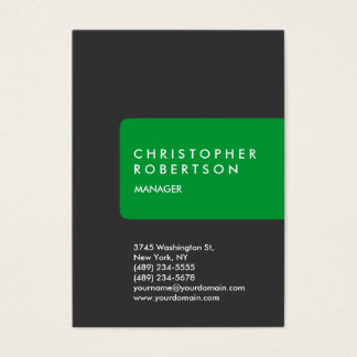 Vertical trendy chubby green gray business card