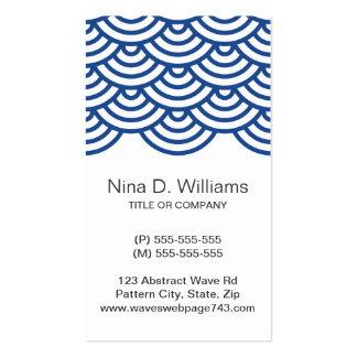 Vertical trendy dark blue Japanese wave pattern Business Cards