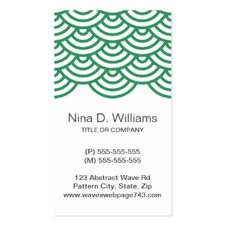 Vertical trendy dark green Japanese wave pattern Business Card Template