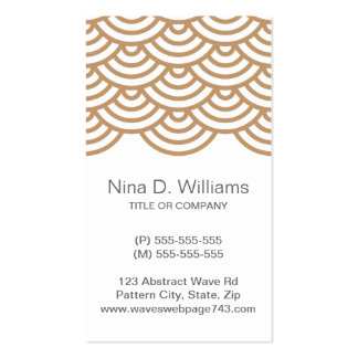 Vertical trendy light brown Japanese wave pattern Business Cards