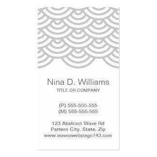 Vertical trendy light gray Japanese wave pattern Business Cards