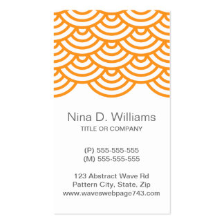 Vertical trendy orange Japanese wave pattern Business Card Template