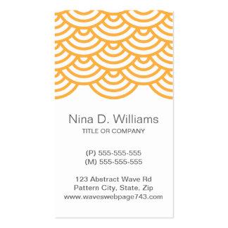 Vertical trendy pale orange Japanese wave pattern Business Card Template