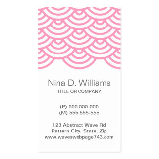 Vertical trendy pink Japanese wave pattern Business Card