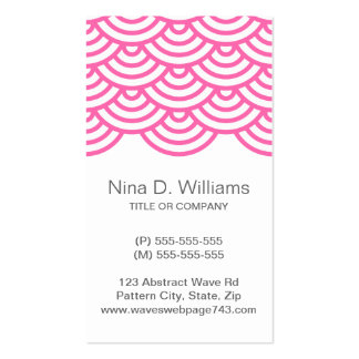 Vertical trendy pink Japanese wave pattern Business Card Template