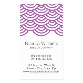 Vertical trendy plum purple Japanese wave pattern Business Card