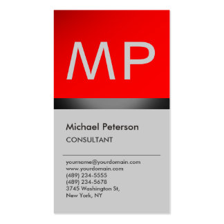 Vertical Trendy Red Grey Monogram Business Card