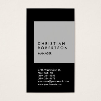 Vertical trendy silver grey black business card
