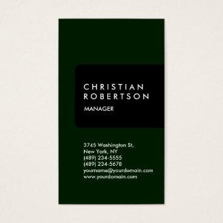 Vertical trendy standard black green business card